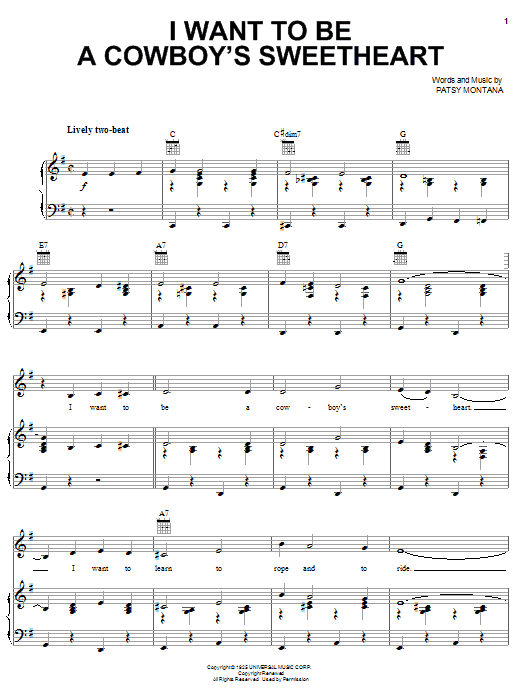 Patsy Montana I Want To Be A Cowboy's Sweetheart sheet music notes printable PDF score