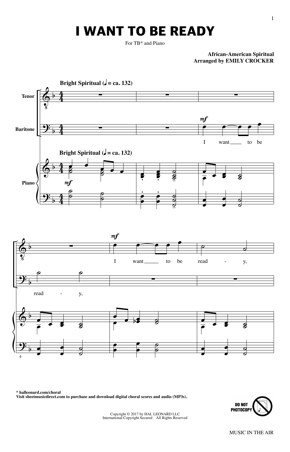 Emily Crocker I Want To Be Ready (from Music In The Air) sheet music notes printable PDF score