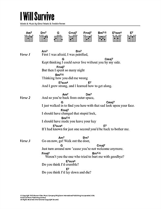 Gloria Gaynor I Will Survive sheet music notes printable PDF score