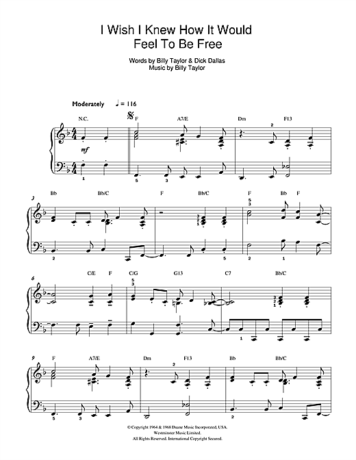Billy Taylor I Wish I Knew How It Would Feel To Be Free sheet music notes printable PDF score