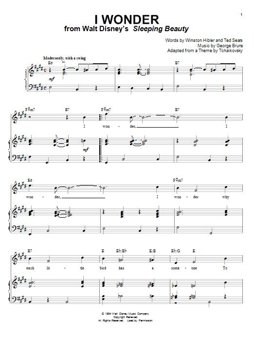 Mary Costa I Wonder (from Sleeping Beauty) sheet music notes printable PDF score