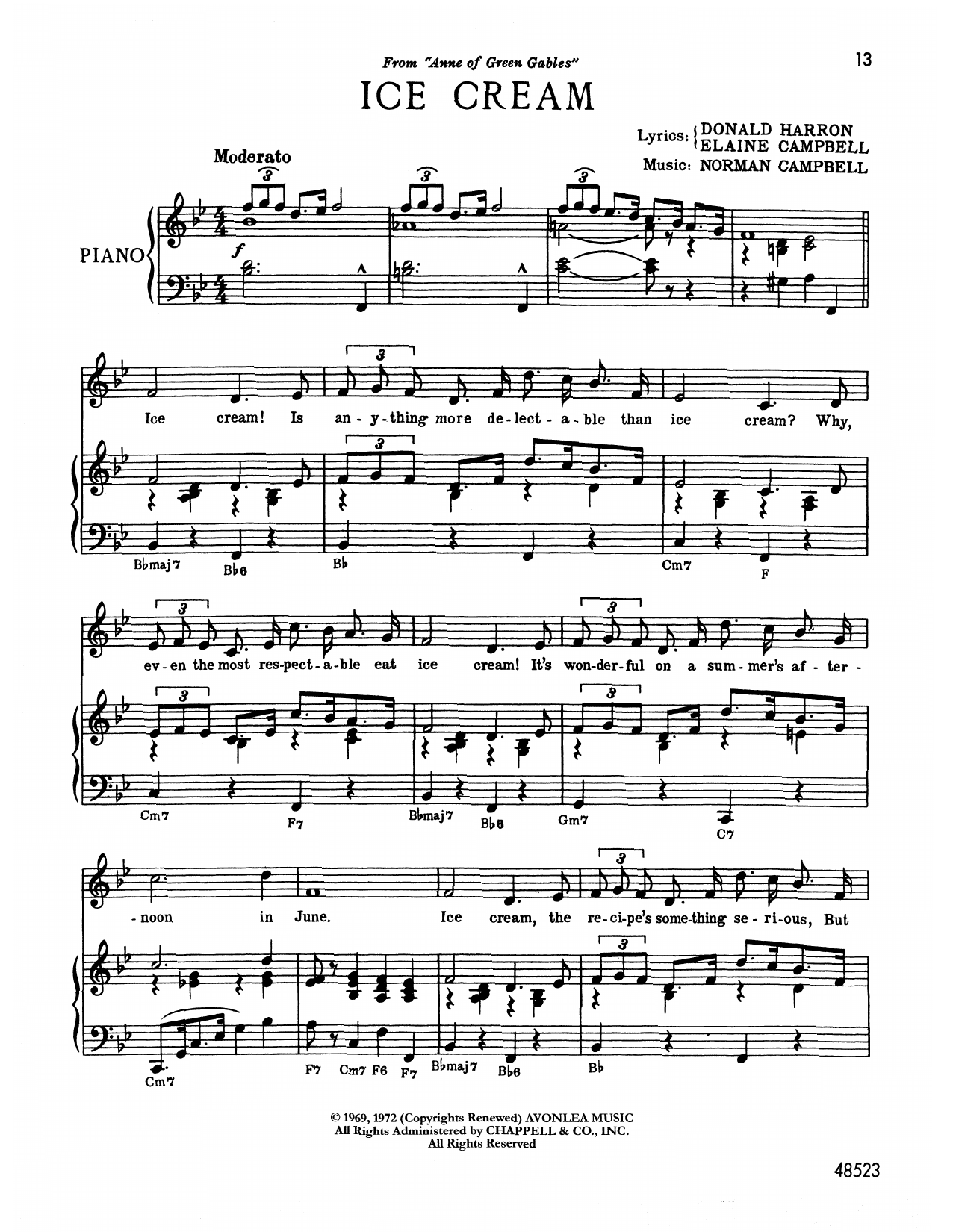 Norman Campbell Ice Cream (from Anne Of Green Gables) sheet music notes printable PDF score