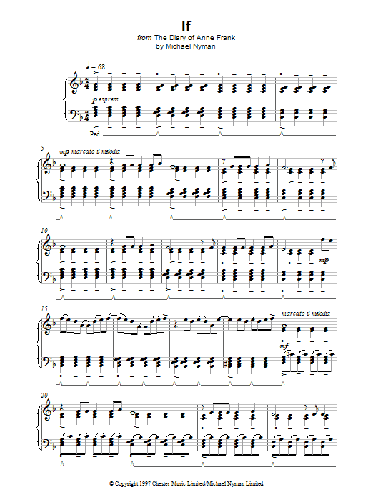 Michael Nyman If (from The Diary Of Anne Frank) sheet music notes printable PDF score