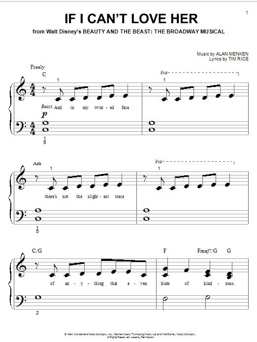 Alan Menken If I Can't Love Her sheet music notes printable PDF score