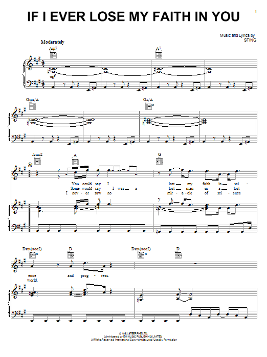 Sting If I Ever Lose My Faith In You sheet music notes printable PDF score