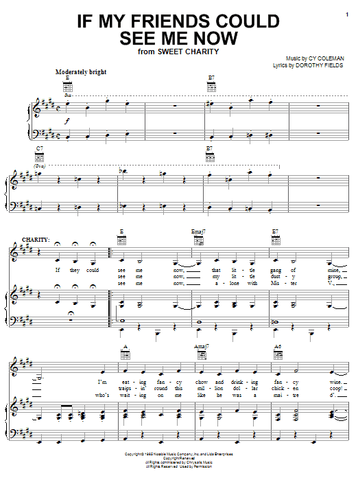 Cy Coleman If My Friends Could See Me Now sheet music notes printable PDF score