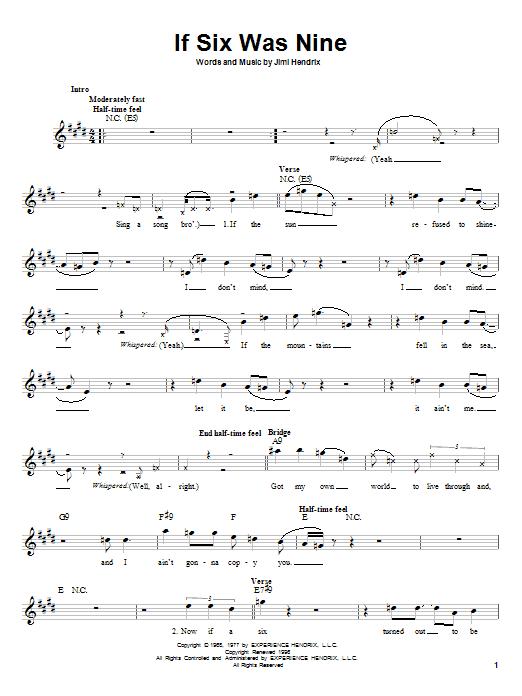 Jimi Hendrix If Six Was Nine sheet music notes printable PDF score