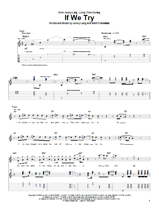 Jonny Lang If We Try sheet music notes printable PDF score