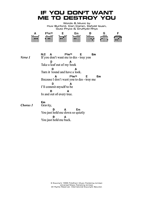 Super Furry Animals If You Don't Want Me To Destroy You sheet music notes printable PDF score