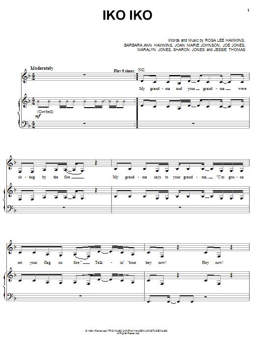The Dixie Cups Iko Iko sheet music notes printable PDF score
