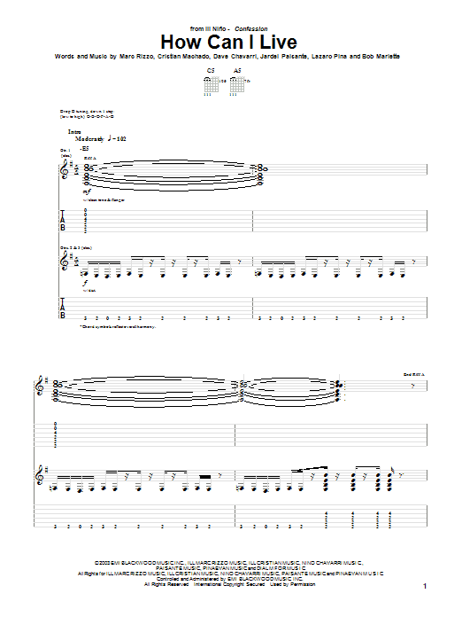 Ill Nino How Can I Live sheet music notes and chords. Download Printable PDF.