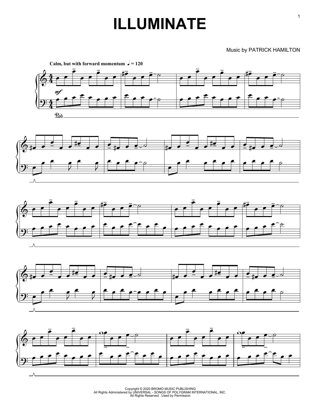 Patrick Hamilton Illuminate sheet music notes printable PDF score