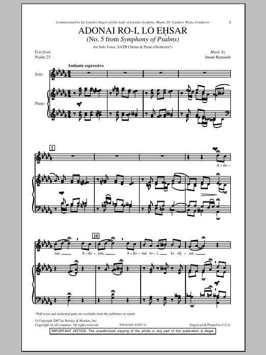 Imant Raminsh Adonai Ro-i, Lo Ehsar sheet music notes and chords. Download Printable PDF.
