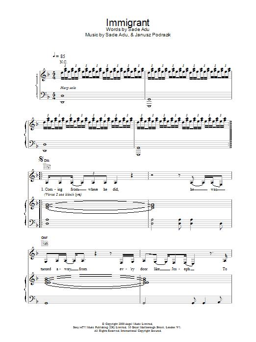 Sade Immigrant sheet music notes printable PDF score