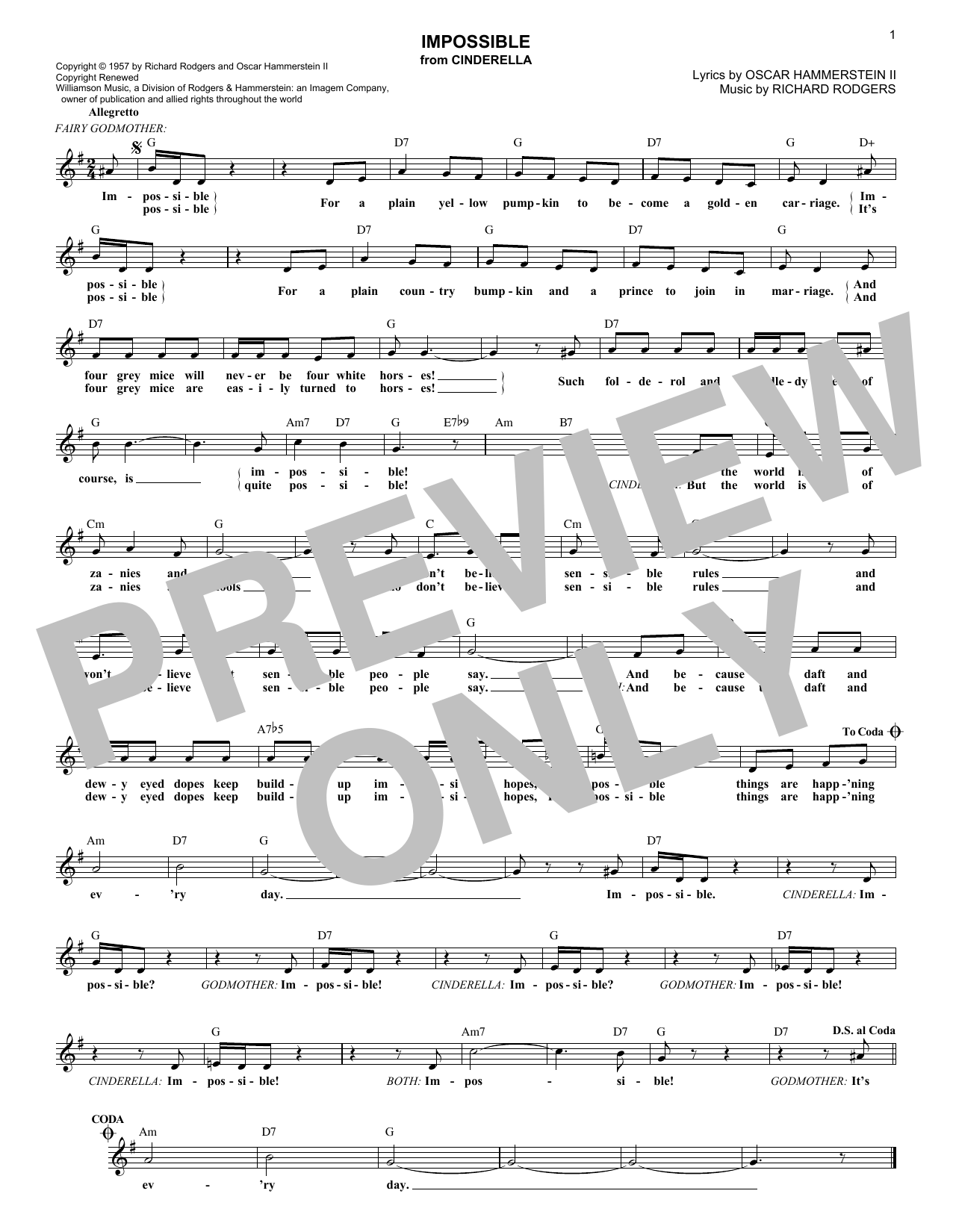 Rodgers & Hammerstein Impossible (from Cinderella) sheet music notes printable PDF score