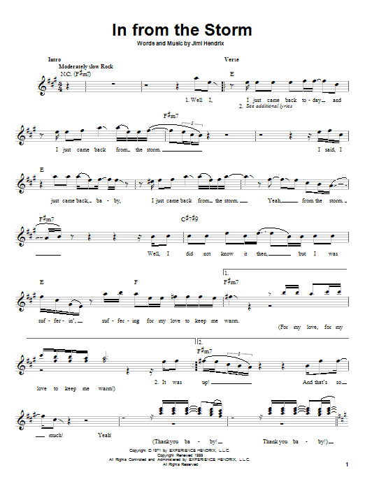 Jimi Hendrix In From The Storm sheet music notes printable PDF score
