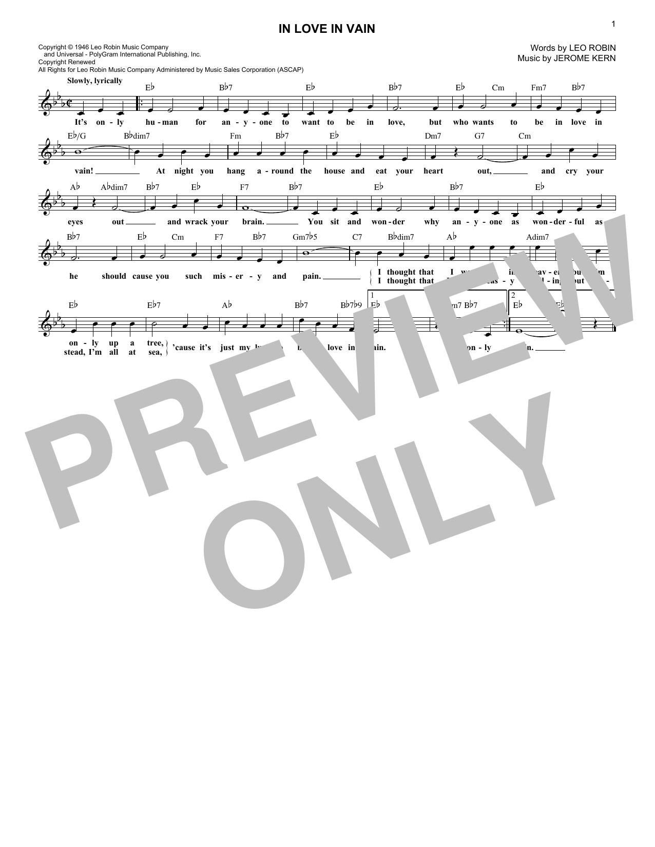 Leo Robin & Jerome Kern In Love In Vain sheet music notes printable PDF score