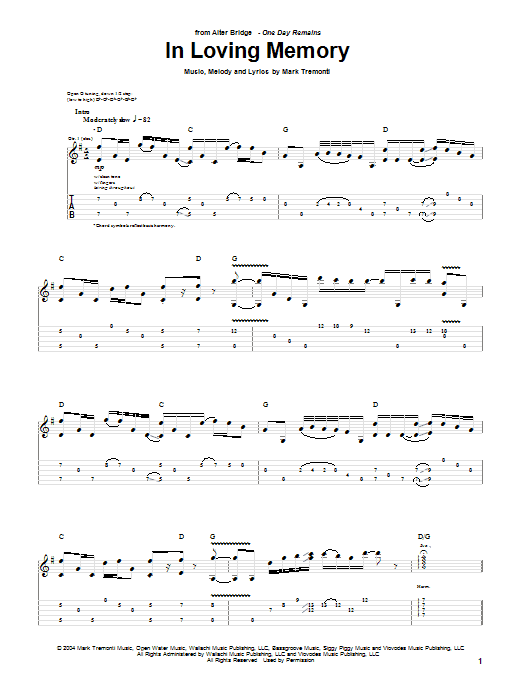 Alter Bridge In Loving Memory sheet music notes printable PDF score