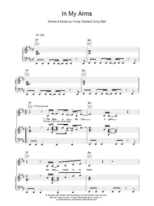 Erasure In My Arms sheet music notes printable PDF score