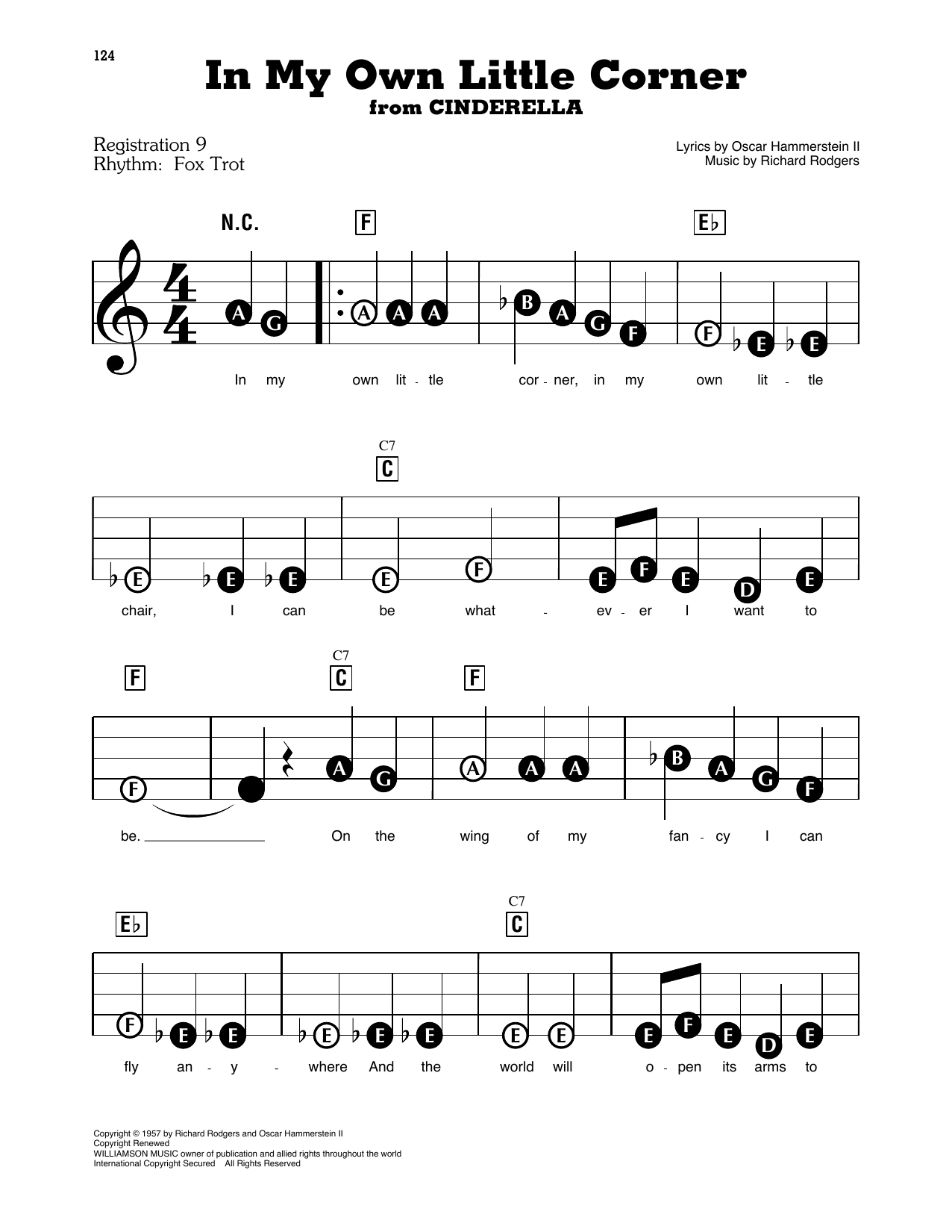 Rodgers & Hammerstein In My Own Little Corner (from Cinderella) sheet music notes printable PDF score