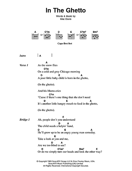 Elvis Presley In The Ghetto sheet music notes printable PDF score