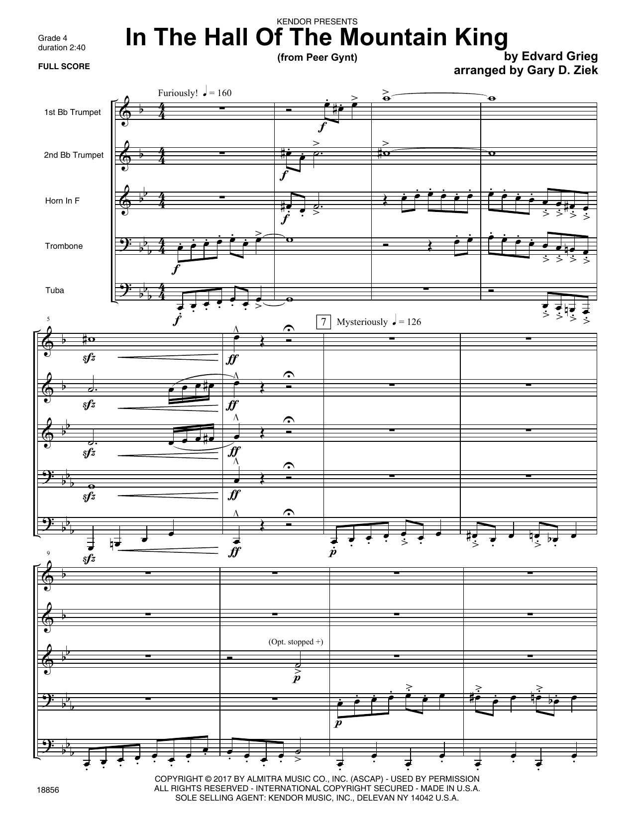 Gary D. Ziek In The Hall Of The Mountain King (from Peer Gynt) - Full Score sheet music notes printable PDF score