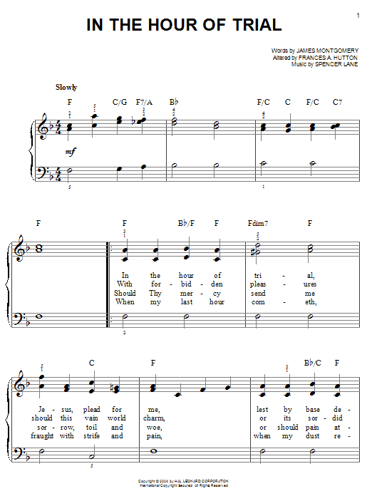 James Montgomery In The Hour Of Trial sheet music notes printable PDF score