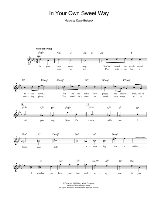 Dave Brubeck In Your Own Sweet Way sheet music notes printable PDF score