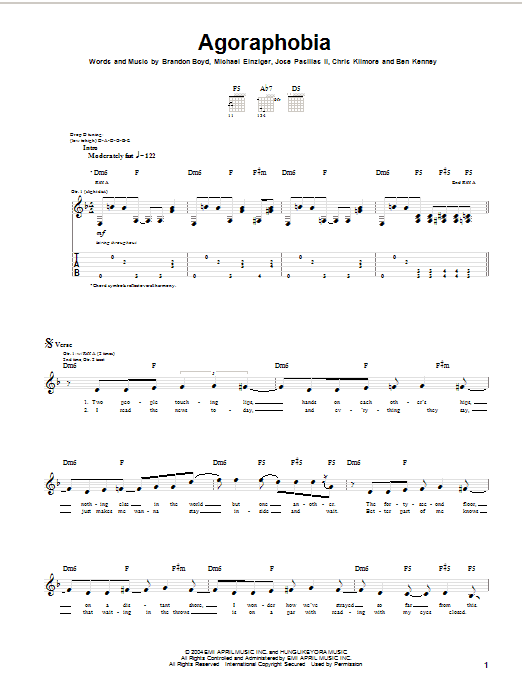 Incubus Agoraphobia sheet music notes and chords. Download Printable PDF.