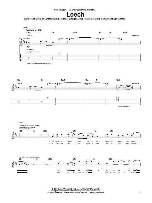 Incubus Leech sheet music notes and chords. Download Printable PDF.