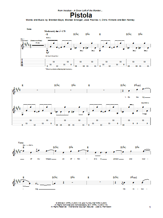 Incubus Pistola sheet music notes and chords. Download Printable PDF.