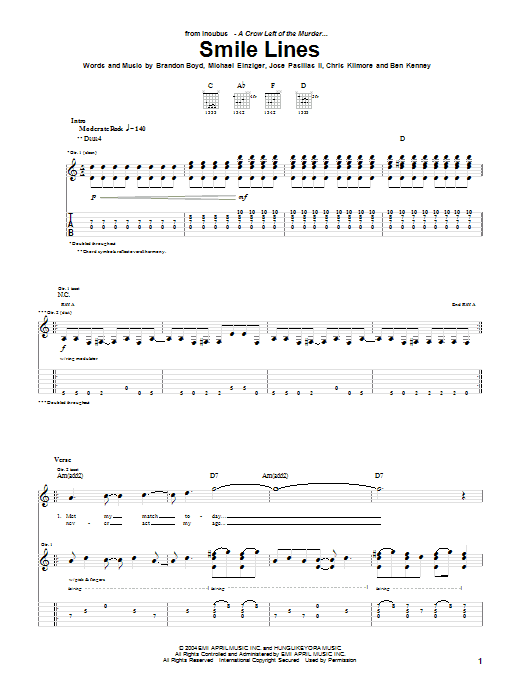 Incubus Smile Lines sheet music notes and chords. Download Printable PDF.
