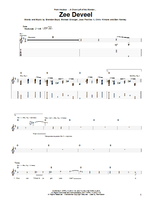 Incubus Zee Deveel sheet music notes and chords. Download Printable PDF.