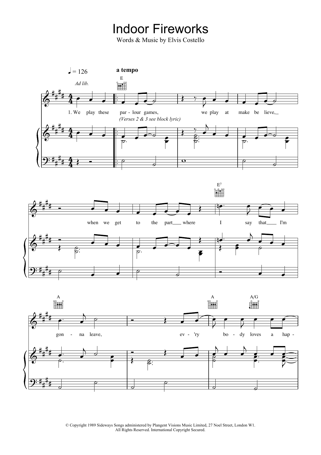 Elvis Costello Indoor Fireworks sheet music notes printable PDF score