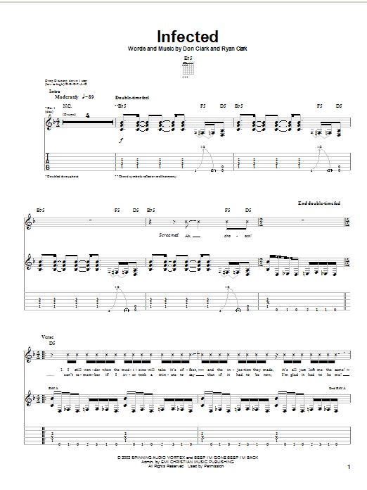 Demon Hunter Infected sheet music notes printable PDF score