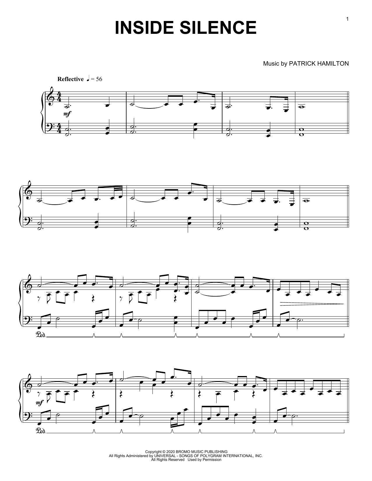 Patrick Hamilton Inside Silence sheet music notes printable PDF score
