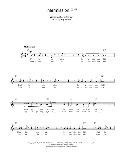 Ray Wetzel Intermission Riff sheet music notes printable PDF score