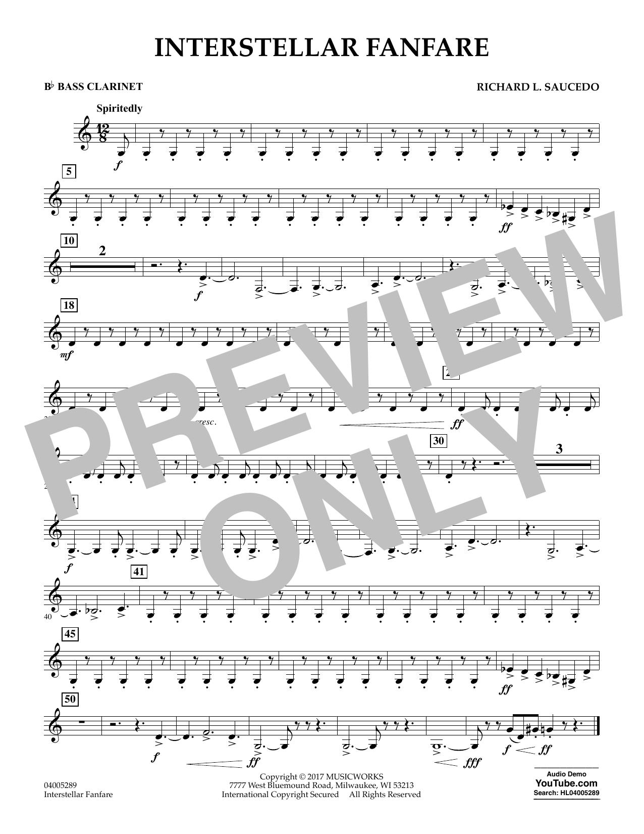 Richard L. Saucedo Interstellar Fanfare - Bb Bass Clarinet sheet music notes printable PDF score