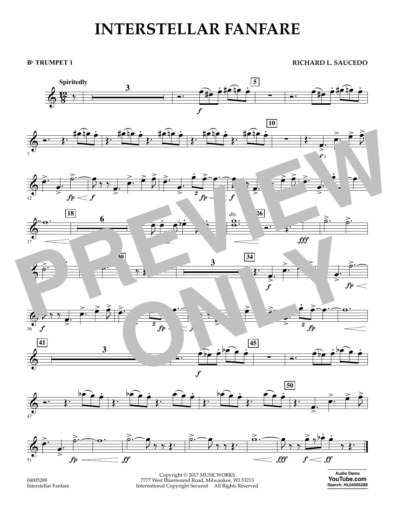 Richard L. Saucedo Interstellar Fanfare - Bb Trumpet 1 sheet music notes printable PDF score