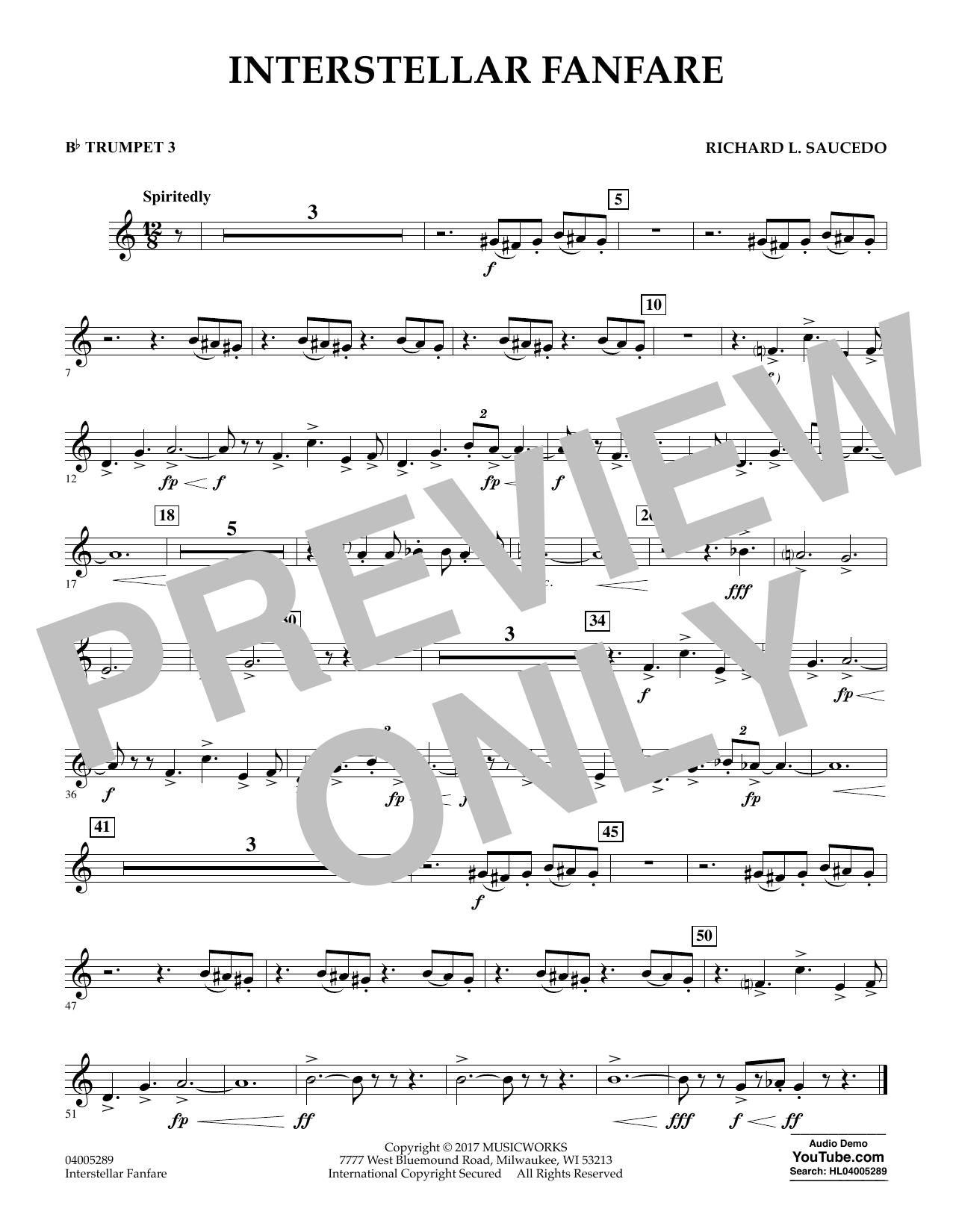 Richard L. Saucedo Interstellar Fanfare - Bb Trumpet 3 sheet music notes printable PDF score