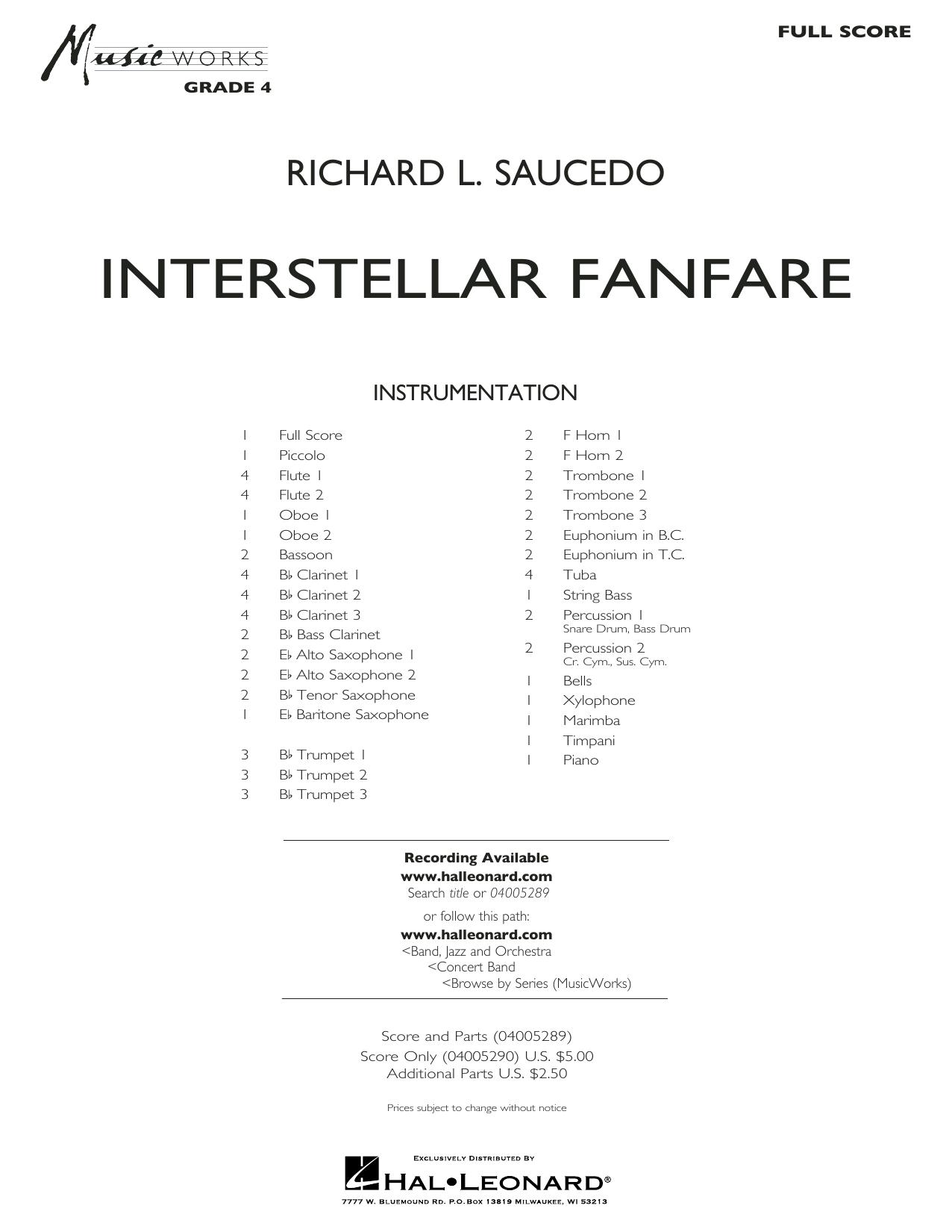 Richard L. Saucedo Interstellar Fanfare - Conductor Score (Full Score) sheet music notes printable PDF score