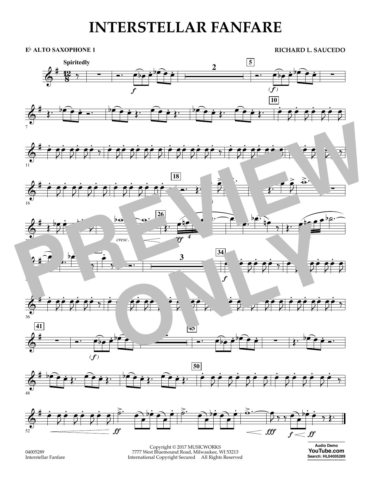 Richard L. Saucedo Interstellar Fanfare - Eb Alto Saxophone 1 sheet music notes printable PDF score