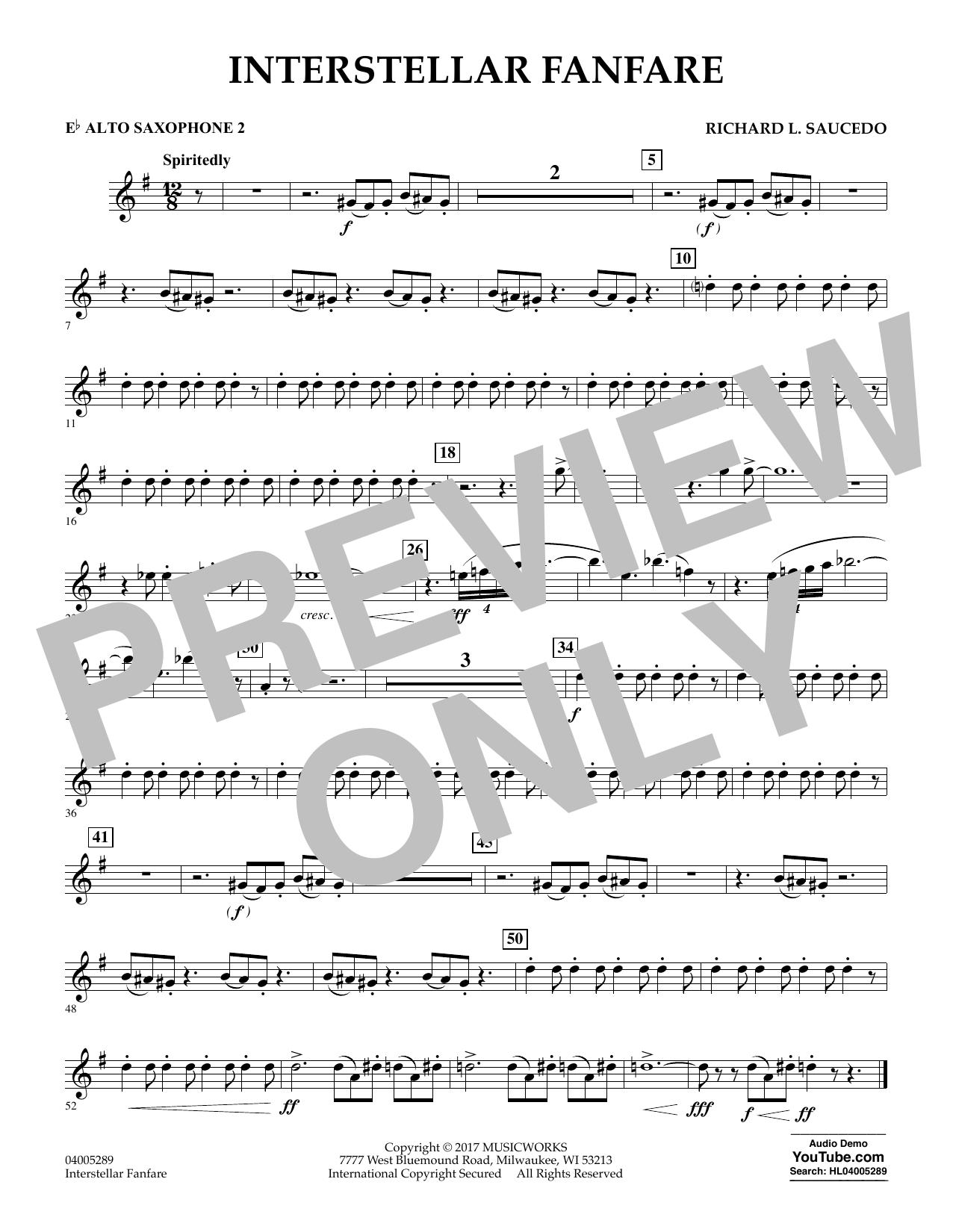Richard L. Saucedo Interstellar Fanfare - Eb Alto Saxophone 2 sheet music notes printable PDF score