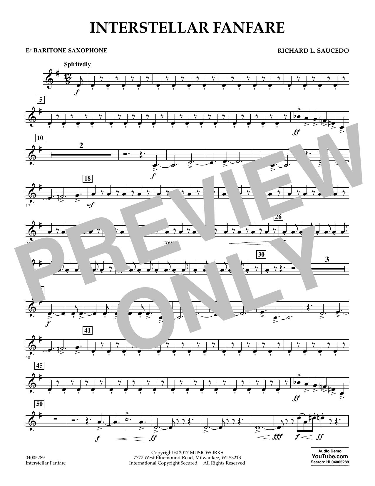 Richard L. Saucedo Interstellar Fanfare - Eb Baritone Saxophone sheet music notes printable PDF score