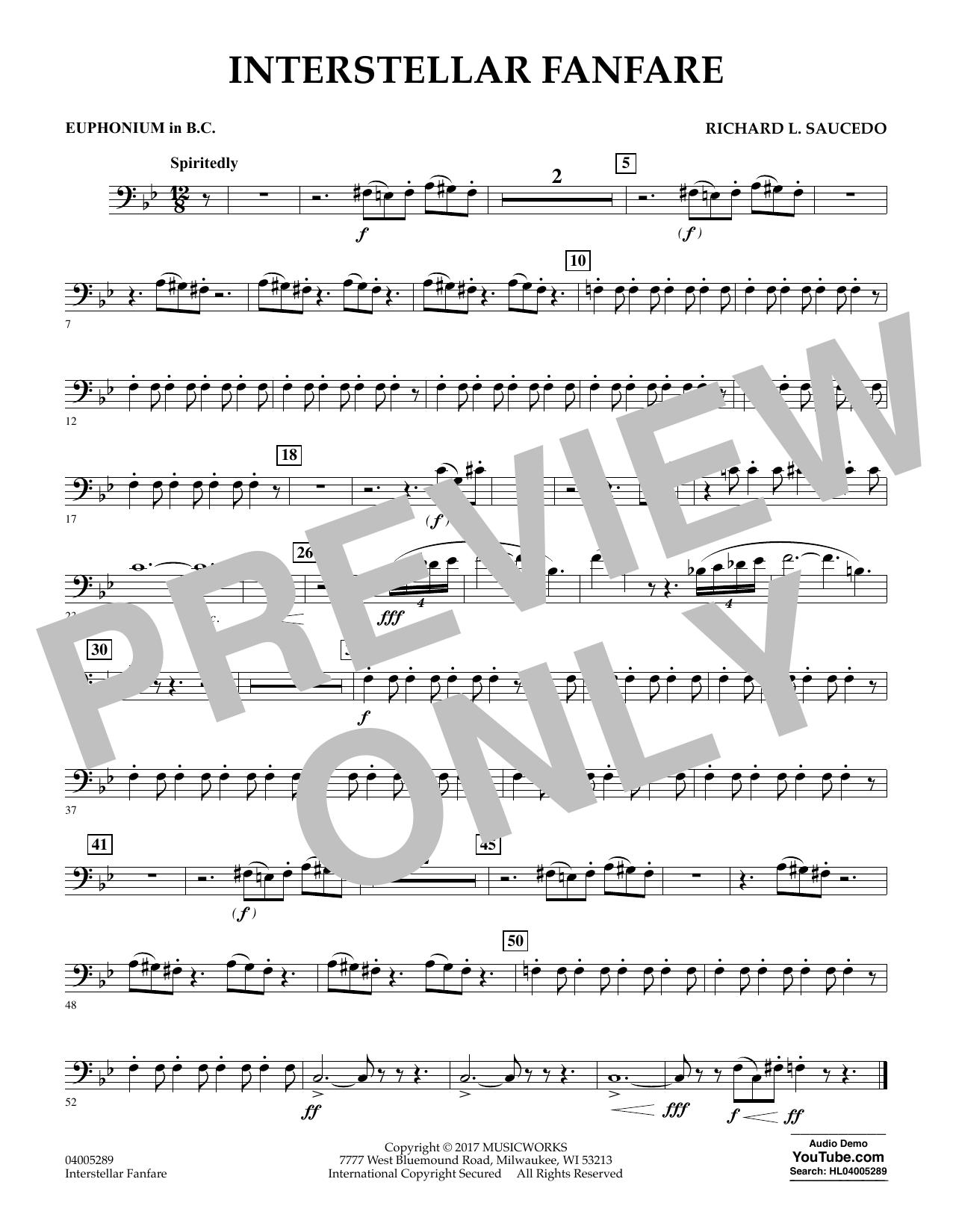 Richard L. Saucedo Interstellar Fanfare - Euphonium in Bass Clef sheet music notes printable PDF score