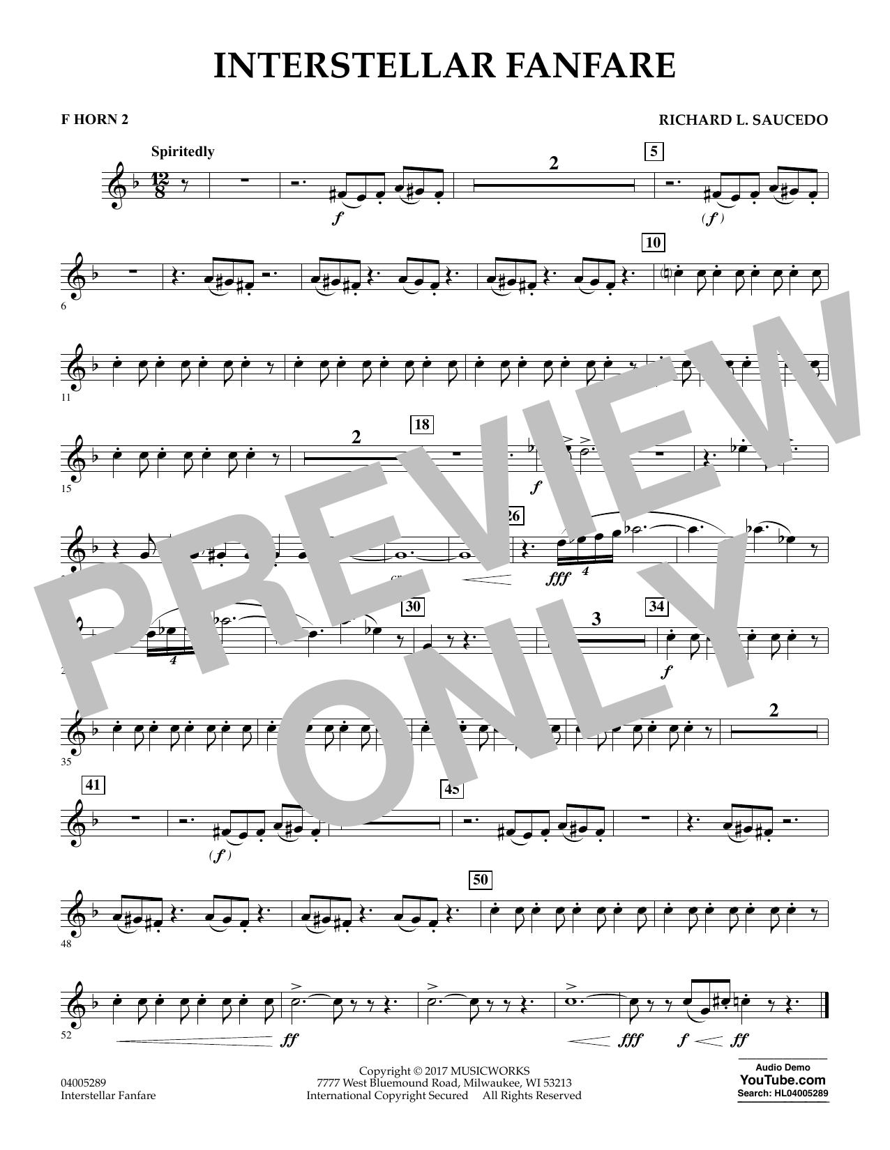 Richard L. Saucedo Interstellar Fanfare - F Horn 2 sheet music notes printable PDF score