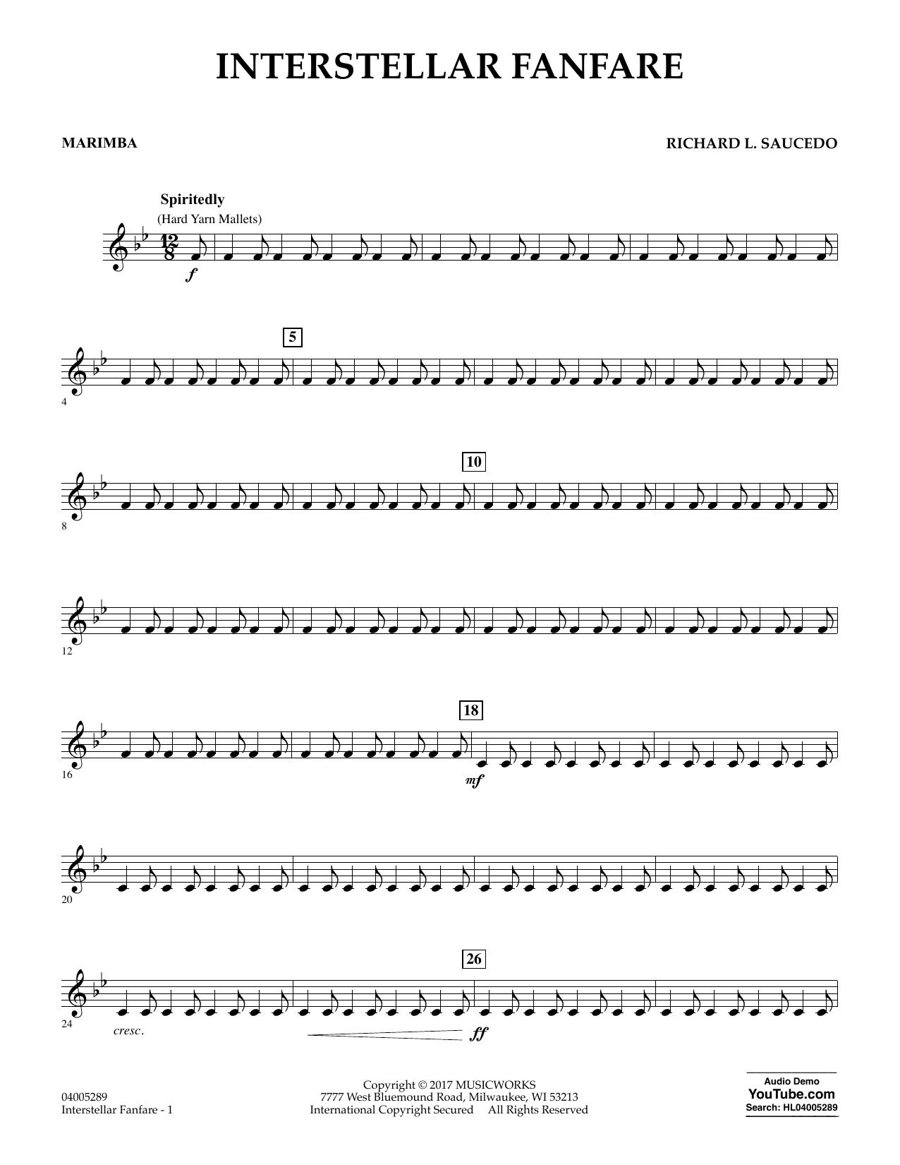 Richard L. Saucedo Interstellar Fanfare - Marimba sheet music notes printable PDF score