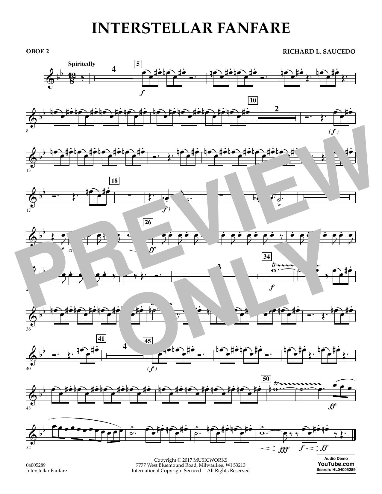 Richard L. Saucedo Interstellar Fanfare - Oboe 2 sheet music notes printable PDF score