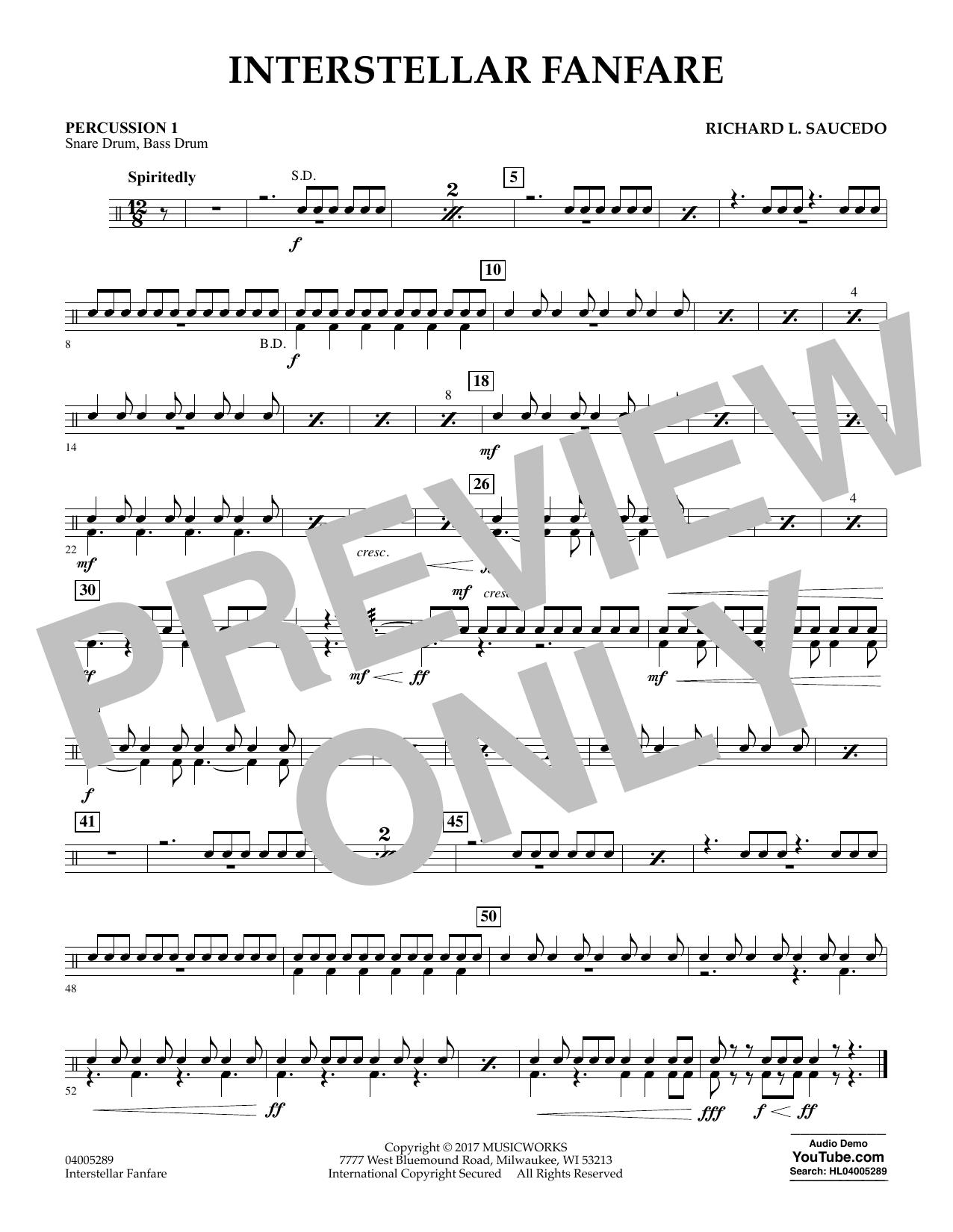 Richard L. Saucedo Interstellar Fanfare - Percussion 1 sheet music notes printable PDF score