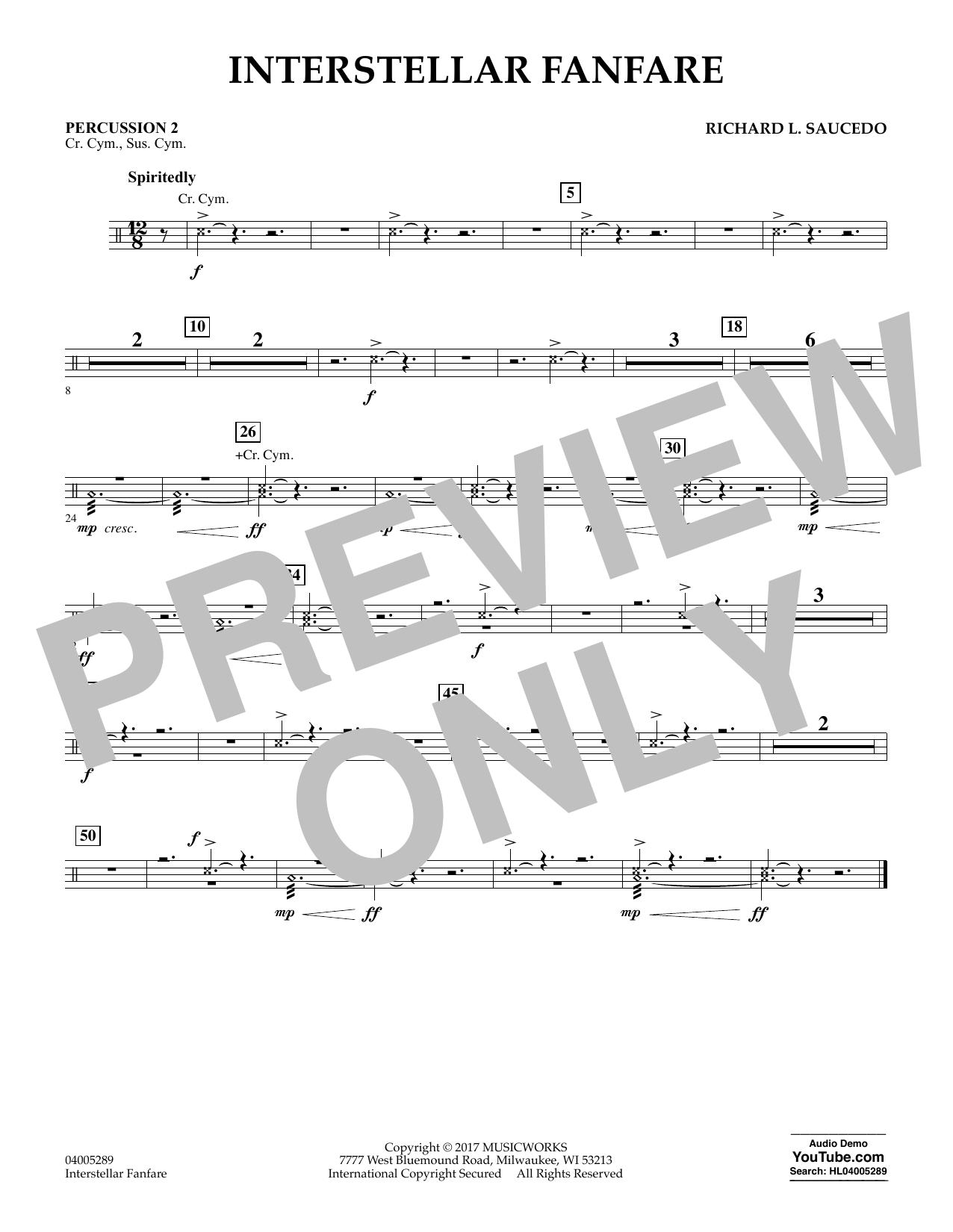 Richard L. Saucedo Interstellar Fanfare - Percussion 2 sheet music notes printable PDF score